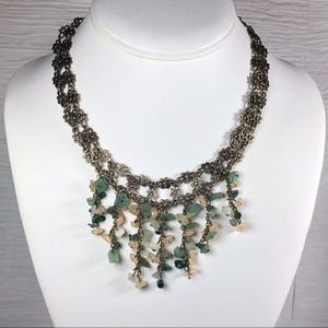 XC Bib Statement Necklace Bronze tone Green Beads